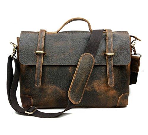 E-Bestar Uomo borsa in pelle postino moda casual retrò cartella spalla ventiquattrore borsa Messenger portatile PC