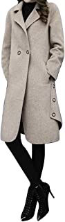 Women's Basic Double Breasted Jacket Mid-Long Big Notch Lapel Solid Color Wool Blend Pea Coat