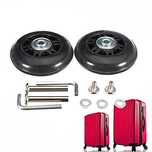 Zubehörteile für Koffer, 64x 18mm, 2schwarze Ersatzrollen für Koffer/Tretroller / Inline-Skates, Reparatur-Set mit ABEC-608zz-Kugellager