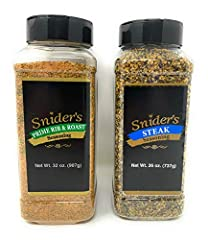 A 32oz large canister of SNIDER'S PRIME RIB & ROAST. Provides an elegant and robust flavor to beef and pork, on the grill or in the smoker or oven. A 26oz large canister of SNIDER'S STEAK SEASONING. Perfect for anything you are grilling or for use in...