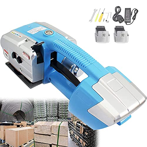 HAOGUO Electric Welding Strapping Machine for 1/2-5/8inch PP/PET Rechargeable Battery Powered Automatic Hot Melting Strapping Banding Tool,Blue