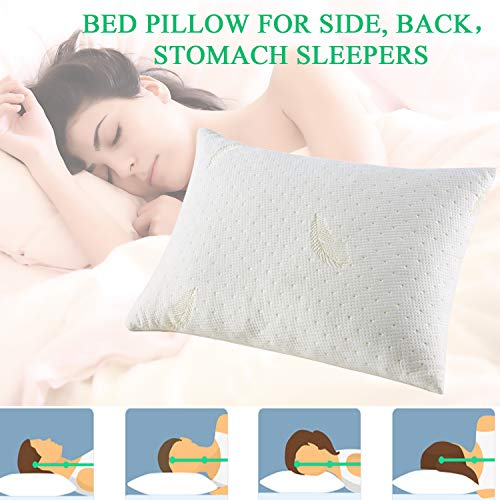 Queen Memory Foam Pillow Cooling Bamboo Bed Pillow for Sleeping , Adjustable Soft Firm Pillow for Neck Pain with Zipper Removable Case for Side Back Stomach Sleepers