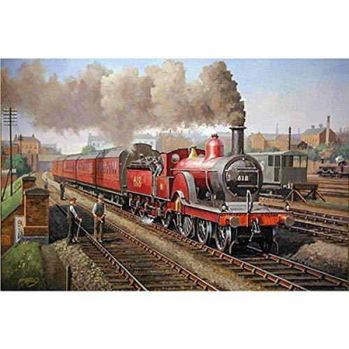 5D Diamant Schilderij-Rail Trein Ronde Diamanten, Vierkant Canvas. DIY, Development Intelligence. Woondecoratie. Verjaardagscadeau voor kinderen 25x30cm