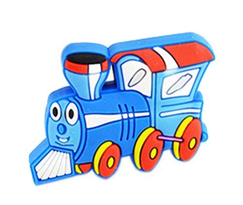 4PCS Belle Porte enfants Poignées de tiroir Poignées bleu Motif Lokomotiv