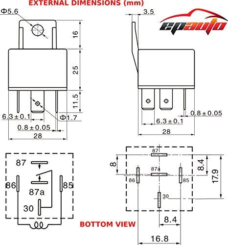 5 Pack - EPAuto 30/40 AMP Relay Harness Spdt 12V, 5-PIN SPDT Bosch Style