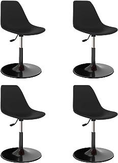vidaXL 4X Sillas de Comedor Asiento Mobiliario Muebles Cocina Salón Sala de Estar Escritorio Suave Respaldo Decoración Giratorias PP Negras