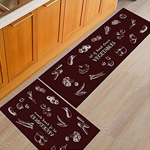 Alfombra moderna para el hogar y la cocina de Oriental Spring, antideslizante, juego de alfombrillas de entrada, 38 x 60 cm + 40 x 120 cm