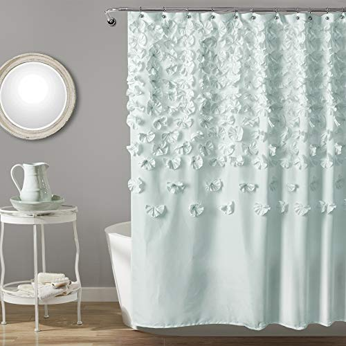 """Lush Decor Lucia Shower Curtain - Fabric, Ruched, Floral, Textured Shabby Chic, Farmhouse Style Design, 72"""" x 72"""", Blue"""