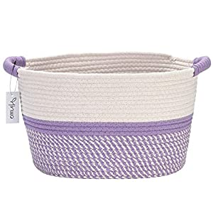 Hinwo Oval Cotton Rope Storage Basket Collapsible Nursery Storage Box Container Organizer with Handles, 13 x 10 inches, Off White and Lavander