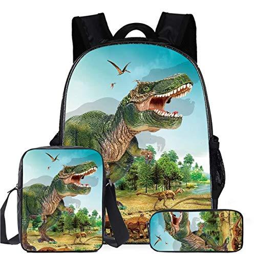 Zaino per Bambini Ragazzi, Set di 3 Pezzi Zaini Dinosauri con Borsa a Tracolla e Astuccio Stampa 3D Zainetti Scuola Elementare Bambino