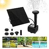 omitium Fuente Solar para Estanque, Bomba de Agua para jardín, Bomba Solar con Panel Solar monocristalino de 1,2 W, para Estanque de pájaros, Peces, Estanque pequeño (4 Estilos de Fuentes)