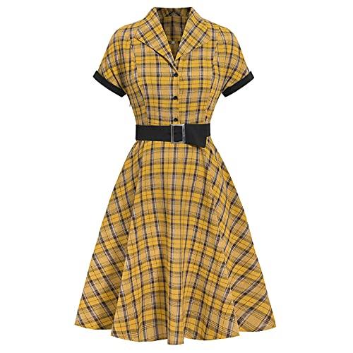 iEFiEL Gonna Vintage Anni '50 60 Audrey Hepburn Vestiti da Cocktail da Donna con Cintura Elegante di Cotone Manica Corta Linea Rockabilly retrò Abito da Sera Swing Party Giallo XXL