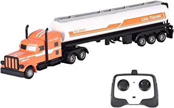 Vibola Oil Tanker Truck Toy Vehicle for Kids,1/16 Scale 2.4G RC Truck Semi-Trailer Engineering Tractor Large RC Toy Semi Truck Fuel Trailer Children's Toy Gift [Ship from USA Directly]