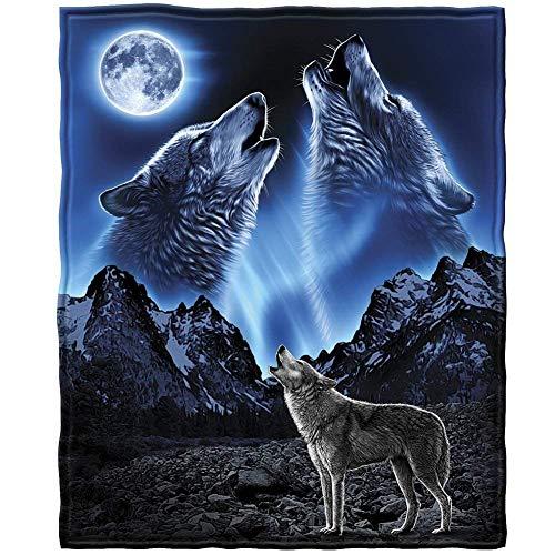 YISUMEI Decke 150x200 cm Kuscheldecken Sanft Flanell Weich Fleecedecke Wölfe Heulender Mond