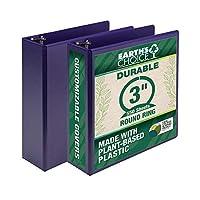 Samsill Earth's Choice、丈夫なファッションカラー3リングビューバインダー 3インチラウンドリング 植物ベースプラスチック 最大25% 環境に優しい USDA認定バイオベース パープル バリュー2パック (U86808)