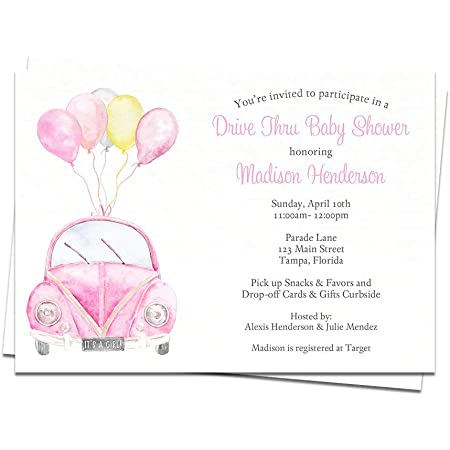 Drive through baby shower Invitation baby shower editable BOLE Editable Drive By Baby Shower Invitation Blush Pink Rose Showering Sign