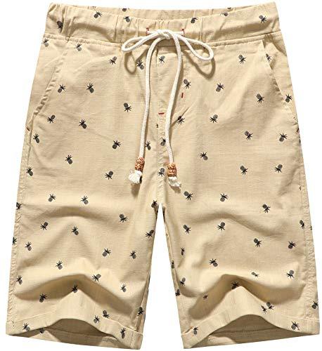 Boisouey Men's Linen Casual Classic Fit Short (Khaki Pineapple, 2XL)