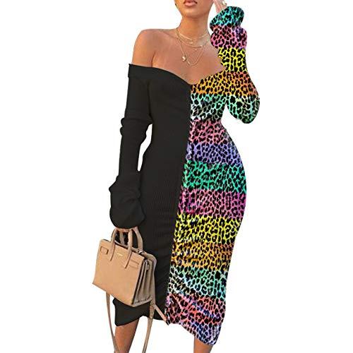 JiherBeauty Womens Sexy Printed Midi Dress Long Sleeve Off Shoulder Leopard Color Block Bodycon Pencil Dresses