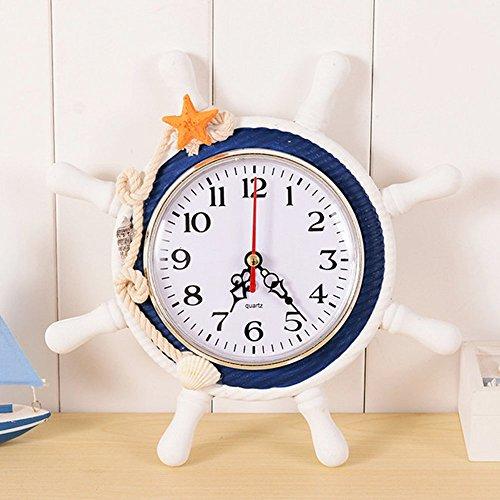 Doolland Wanduhr mediterranen Stil Anker Uhr Strand Meer Thema nautische Schiff Lenkrad Clock Rudder Decor Wandbehang Dekoration (A2)