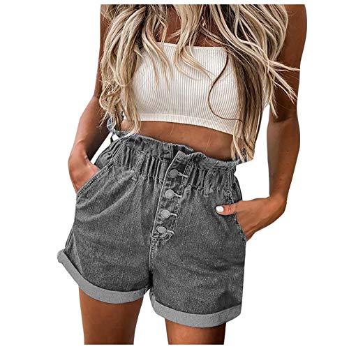 XXBR Denim Shorts for Women, 2021 Summer Frayed Distressed Cuffed Tassel Hem Hole Jeans Sexy Hot Shorts Stretchy Pants Lifting 5 Inch Shorts Elastic Waist Casual Women Butt Lift Women Shorts Fit