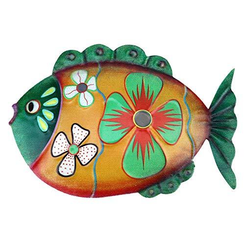 YARNOW Metall fisk väggkonst nautisk dekoration inspiration tropiska fiskskulpturer djurstatyett hängare för uteplats pool trädgårdsprydnad (gul)