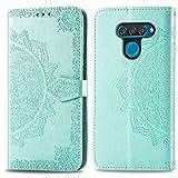 Bear Village Hülle für LG Q60 / LG K50, PU Lederhülle Handyhülle für LG Q60 / LG K50, Brieftasche Kratzfestes Magnet Handytasche mit Kartenfach, Grün