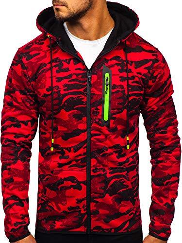 BOLF Herren Sweatshirt mit Kapuze Pullover Camo Muster Army Militär J.Style DD99-2 Rot L [1A1]