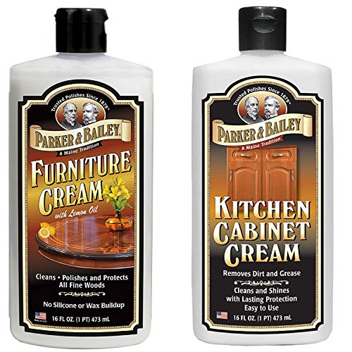 Parker & Bailey Furniture Cream Bundled with Kitchen Cabinet Cream- Furniture Polish Cream and Wood Cleaner