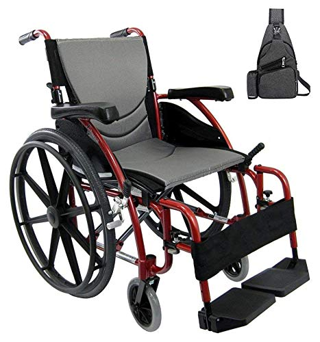 Karman S-Ergo 115 Ultra Lightweight Ergonomic Wheelchair, Quick Release Rear Wheel Axle, 20' Seat Width in Red & Free Black Medical Utility Bag!