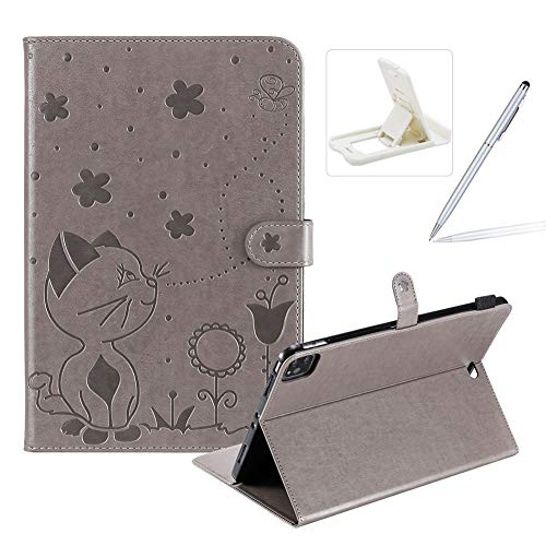 Herzzer Wallet Flip Casse for iPad Pro 11 inch 2018/2020,Cute Cat Bee Floral Embossed PU Leather Folio Stand Case with Auto Wake Sleep Smart Magnetic Cover,Gray