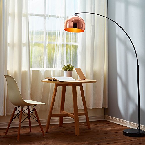 Versanora VN-L00011 Arquer Modern Arc Floor Lamp 67 inch Tall Standing Hanging Light with Rose Gold Finished Shade and Black Marble Base for Living Room Reading Bedroom Office