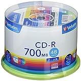Verbatim バーベイタム 1回記録用 CD-R 700MB 50枚 ホワイトプリンタブル 48倍速 SR80FP50V1