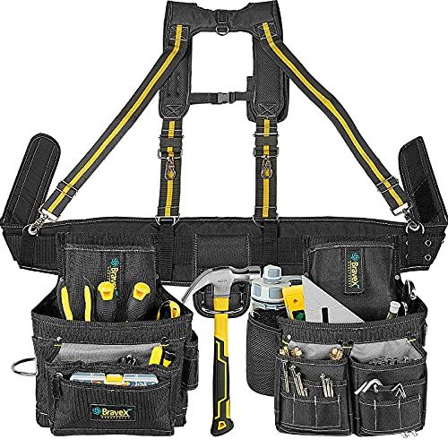 Bravex Tool Belt Suspenders Tool Vest Ultra Anti-Wear Tool Belt 21-Pocket Pro Framer s Combo Apron Tool Belt and Yoke-style Suspenders-1200D Tool Belts for Men Roofing Tools