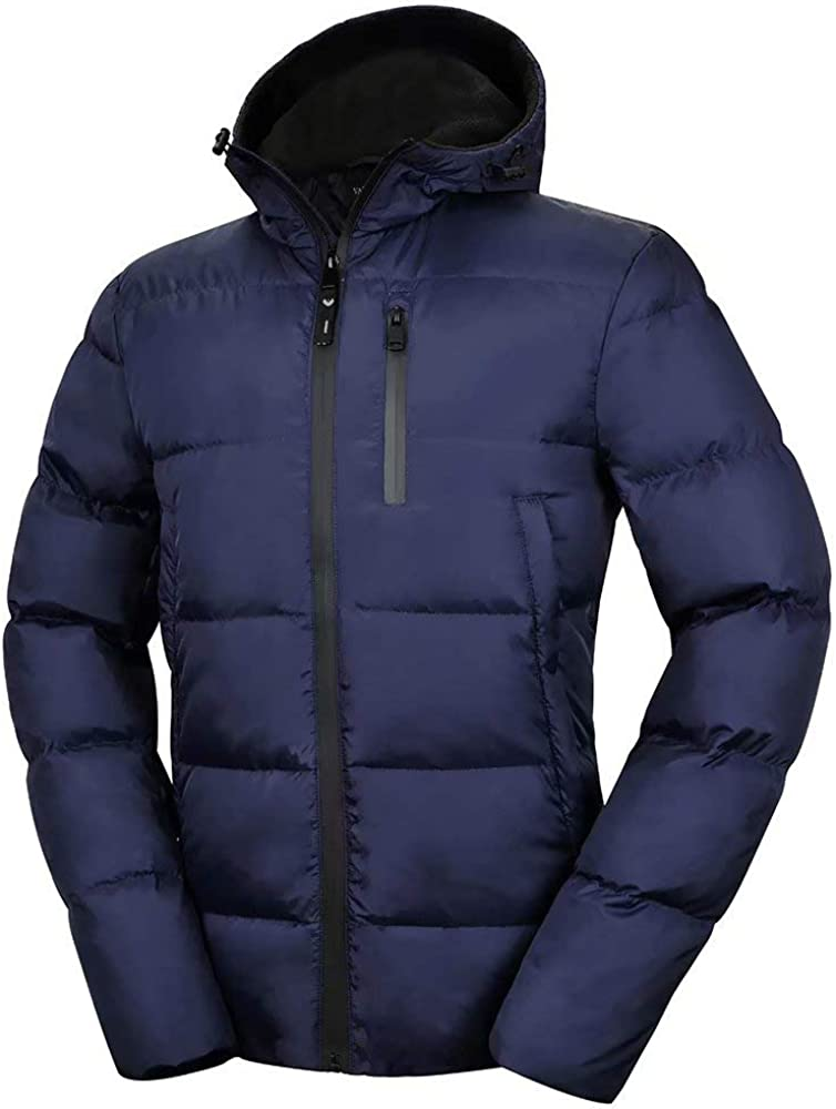 Valuker Men's Down Jacket With Hood 90% Down Coat Puffer Jacket Hooded