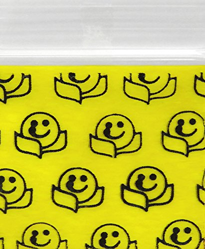 Original Mini Ziplock Reclosable Plastic Bags, Happy Face (1510, 100 Bags)