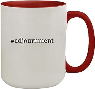 #adjournment - 15oz Hashtag Colored Inner & Handle Ceramic Coffee Mug, Red
