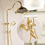 Mezclador del Grifo En Cuarto De Baño Antiguo Grifo De La Ducha del Sistema con Baños De Oro Columna De Bronce De Oro Plateado Estilo Europeo