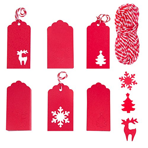 COCODE 100 Pack Paper Tags Kraft Gift Tags Snowflake Shape, Christmas Tree Shape and Reindeer Shape Hang Labels with 30 Meters Twine for Christmas Wedding Party Holiday DIY Arts and Crafts(red)