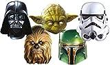 star Wars 1D Masken aus Carton Im Fünferpack - Darth Vader-Yoda - Chewbacca- Stormtrooper and Boba Fett