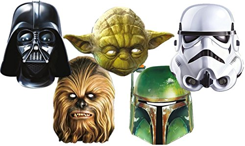 Star Wars 1D Masken aus Carton Im Fünferpack/Set - Darth Vader-Yoda - Chewbacca- Stormtrooper and Boba Fett