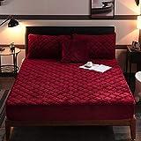 XLMHZP Cojín de colchón de Terciopelo de Cristal Acolchado de algodón Grueso Protector de la Cubierta del colchón elástico Topper King Bed Fundas de sábanas Ajustables-E_135x200cm + 30cm