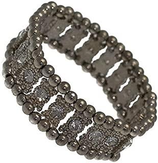 Cannelle Antique Silver tone Single Crystal Elasticated Bracelet