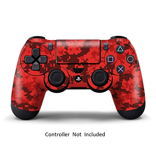 Skins for PS4 Controller - Stickers for Playstation 4 Games - Decals Cover for PS4 Slim Sony Play Station Four Controllers PS4 Pro Accessories PS4 Remote Wireless Dualshock 4 Skin - Digicamo Red