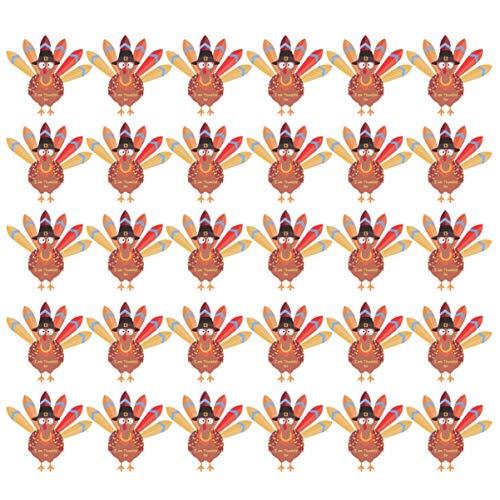 Amosfun 35 stücke Thanksgiving Papier türkei und Federn Kits DIY Papier Handwerk türkei Dekoration Requisiten (zufällige Feder Farbe)