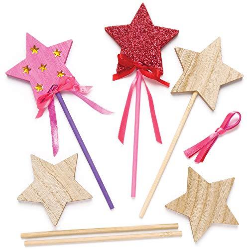 """Baker Ross Stabfiguren-Bastelsets """"Stern"""" aus Holz für Kinder zum Dekorieren und Gestalten (6 Stück)"""