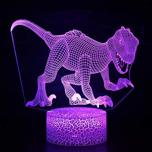 Ray-Velocity Dinosauro 3D Lampada da Tavolo Luce Notturna 7 Colori Cambiamento Pulsante Touch LED Illuminazione Decorativa lampada da tavolo per Compleanno e San Valentino (A7)