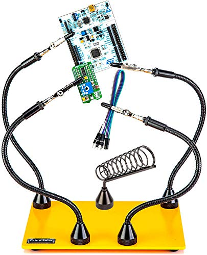 KOTTO Third Hand Soldering Tool PCB Holder Four Magnetic Based With Iron Holder, Flexible Metal Arms Helping Hands Crafts Jewelry Hobby Workshop Helping Station Non-Slip Steel Weighted Base