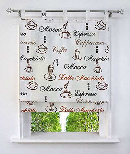 Home U Blickdichte Raffrollo mit Kaffee Tasse Muster Rollos Fenster Vorhänge (Mit Schlaufen, BxH 60x140cm)