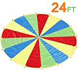 Sonyabecca Parachute, Play Parachute 24ft with 16 Handles for Kids Cooperation Group Play
