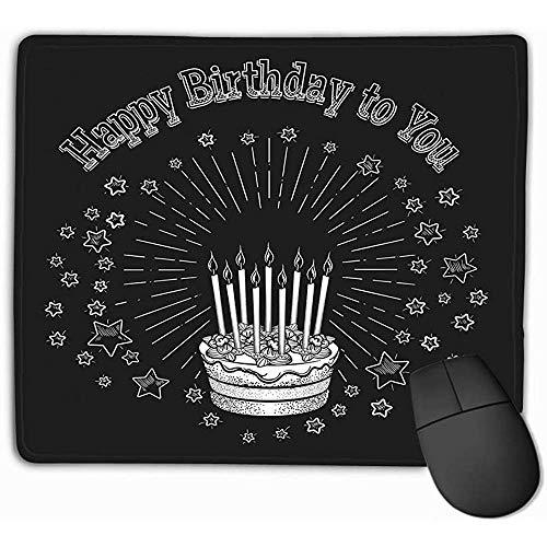 Rechthoek Antislip Rubber Mousepad 30X25CM Verjaardagstaart Krijtbord Wenskaart Vintage Sjabloon Eenvoudig